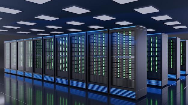 Fila di rack di server nel centro dati della sala server di sicurezza internet della rete di computer. immagine a colori tema blu. immagine di rendering 3d