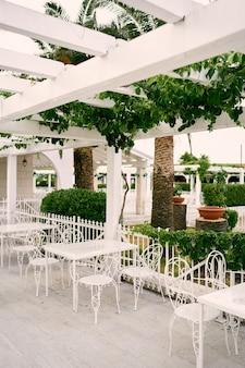 Fila di tavoli e sedie sotto un patio