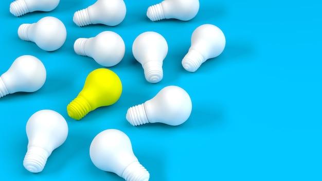 Fila di lampadine bianche con lampadina gialla sull'azzurro