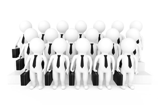 Righe di personaggi della squadra dell'uomo d'affari 3d su uno sfondo bianco. rendering 3d