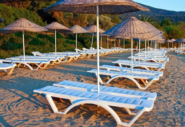 File di chaise longue sotto gli ombrelloni