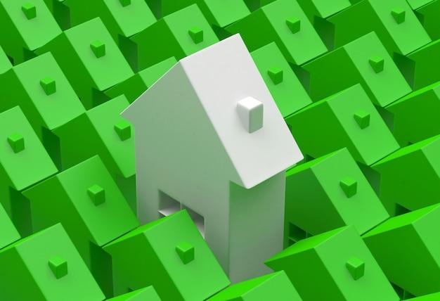 File di case con un'icona di casa unica.
