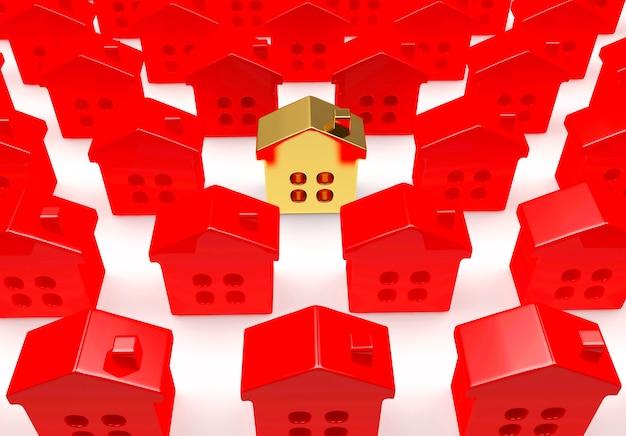 Righe di case rosse con una casa dorata