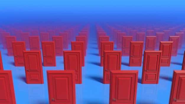 Righe di porte chiuse in legno rosse su una parete blu