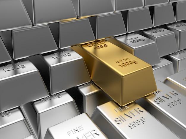 Righe di lingotti d'argento con un lingotto d'oro. 3d