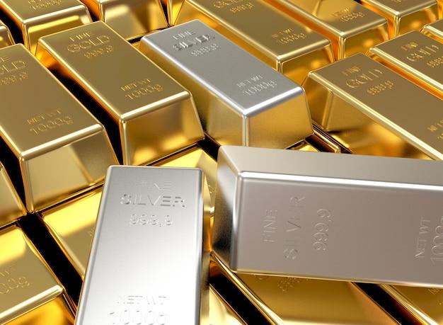 File e pile di lingotti d'oro e pochi lingotti d'argento