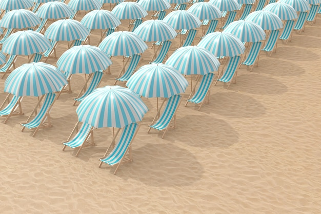 Righe di sedie a sdraio blu a strisce con ombrelloni su un primo piano estremo di spiaggia di sabbia. rendering 3d