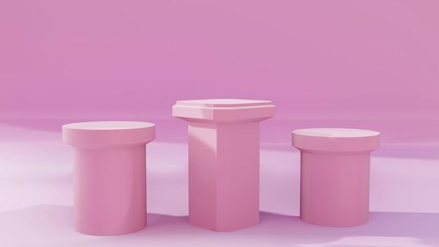 Supporto o podio rosa reale per la vetrina del prodotto