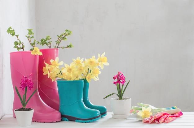 Stivali di gomma e fiori della molla su fondo bianco