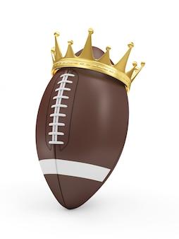 Pallone da rugby con corona d'oro isolato su bianco