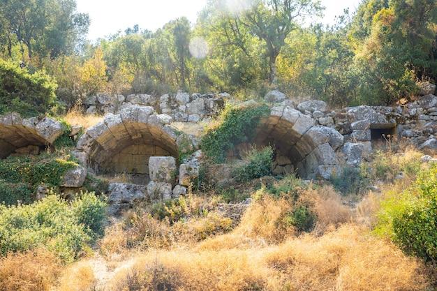 Rovine dell'antica città di termessos senza turisti vicino ad antalya in turchia