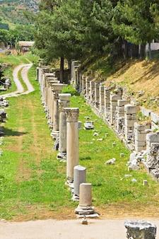 Rovine di colonne nell'antica città di efeso, turchia