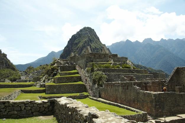 Rovine nella città perduta degli incas machu-picchu, perù