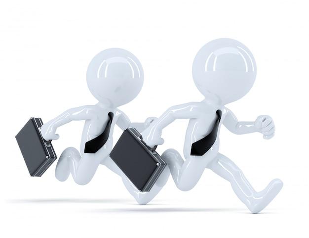 Esecuzione di uomini d'affari. conceot della concorrenza. isolato. contiene il tracciato di ritaglio
