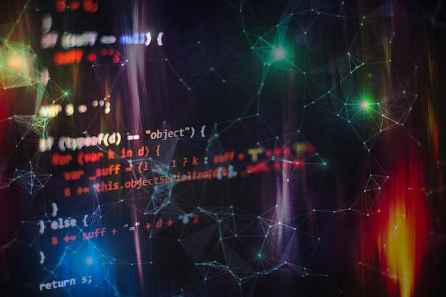 Esecuzione di dati del computer / programmazione www. funzioni di programmazione web su laptop su laptop. affari informatici. schermo del computer in codice python. concetto di progettazione di applicazioni mobili.