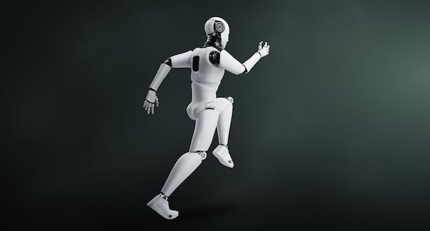 Robot umanoide in esecuzione che mostra movimenti rapidi ed energia vitale nel concetto di sviluppo futuro dell'innovazione verso il cervello ai