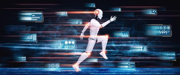 Esecuzione di umanoide robot che mostra movimento veloce ed energia vitale nel concetto di sviluppo futuro dell'innovazione