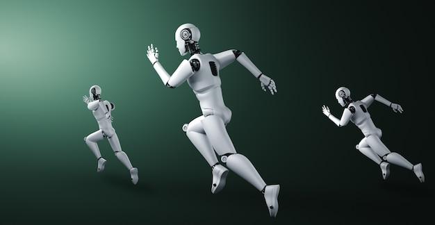 Esecuzione di umanoide robot che mostra movimento veloce ed energia vitale nel concetto di innovazione futura