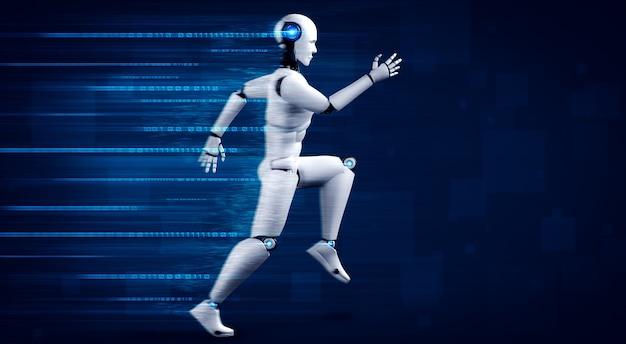 Esecuzione di umanoide robot che mostra movimento veloce ed energia vitale nel concetto di futuro