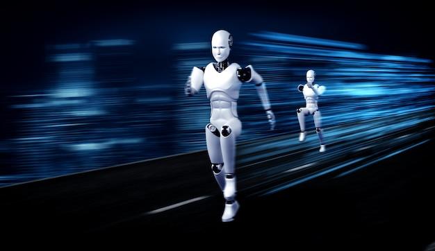 Robot umanoide in esecuzione che mostra movimenti rapidi ed energia vitale
