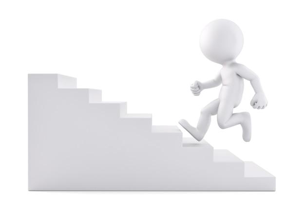 Correre su per le scale. illustrazione 3d. isolato. contiene il tracciato di ritaglio