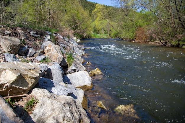 Acqua corrente in fiume regolamentato circondato da vegetazione verde in estate
