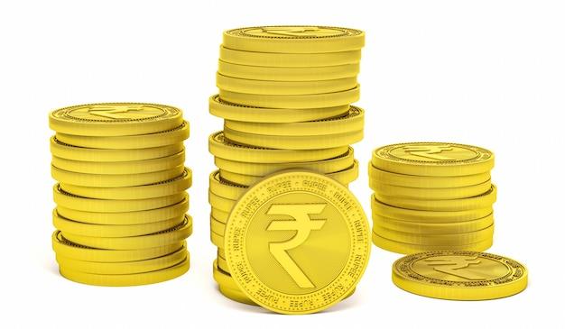 Segno di simbolo della rupia sulla moneta d'oro isolato su priorità bassa bianca