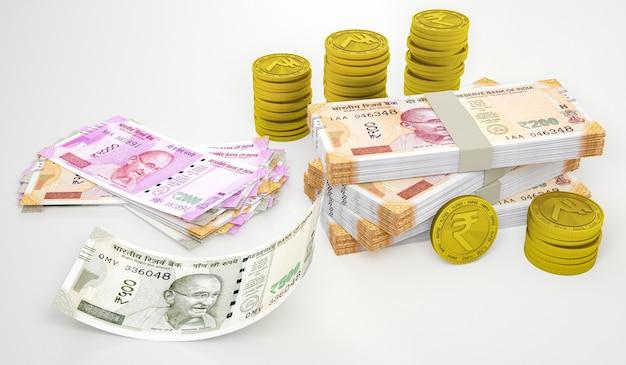 Segno di simbolo della rupia sulla moneta d'oro e note isolate su priorità bassa bianca