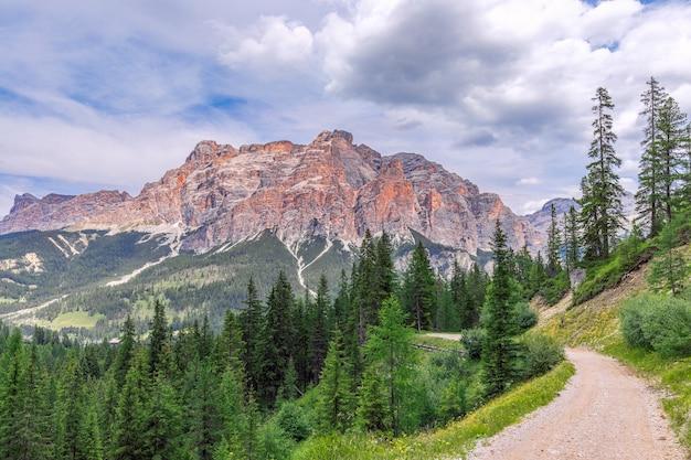 Strada rurale nella verde valle alpina con vista sulle dolomiti italiane.