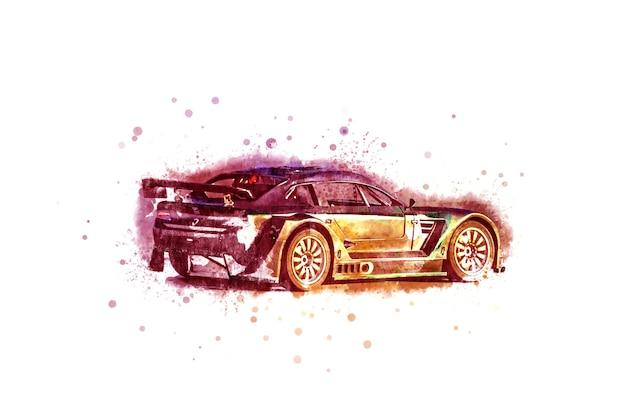 Russia, sochi - 29 luglio 2018: disegno di un'auto sportiva su strada a colori. le auto sportive sono popolari