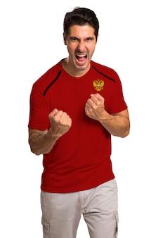 Appassionati di calcio russi che festeggiano nello spazio bianco