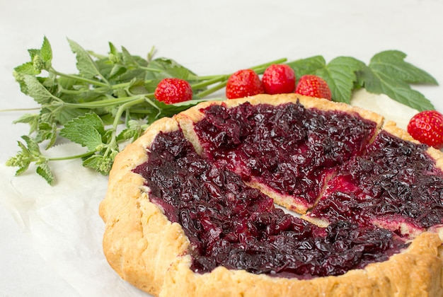 Rustico cherry pie grey background