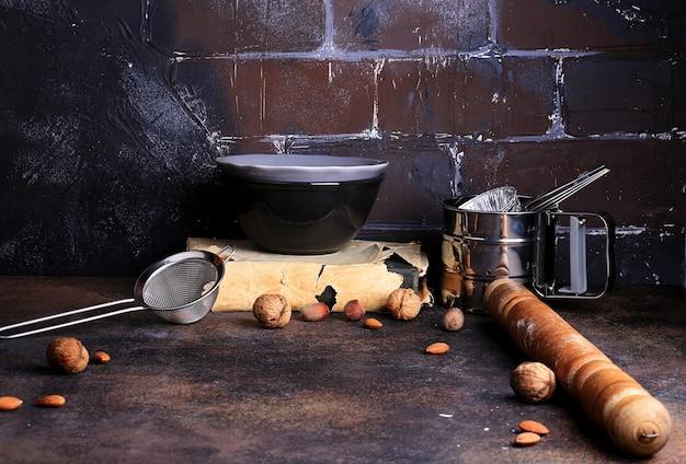 Sfondo cucina rustica con posto per il testo grunge shabby chic loft grunge