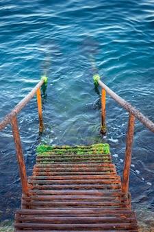 Una scala arrugginita sotto l'acqua. scale bagnate in alghe.
