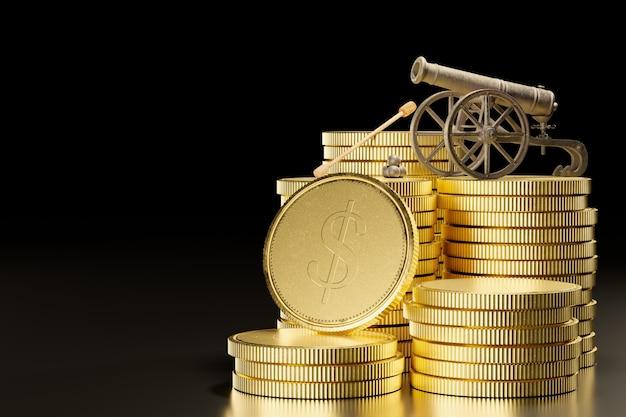 Il vecchio cannone arrugginito posto sopra monete d'oro impilate su uno sfondo nero scuro. illustrazione 3d.