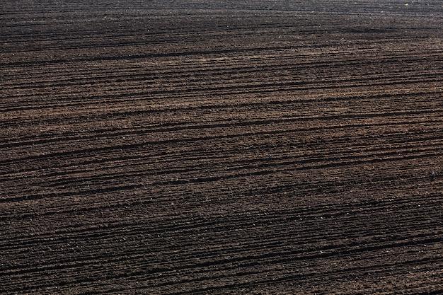 Carreggiata su un campo agricolo arato con terreno di terra nera, primo piano su terreno coltivabile
