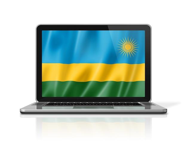 Bandiera del ruanda sullo schermo del computer portatile isolato su bianco. rendering di illustrazione 3d.