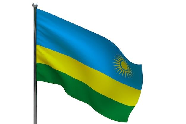 Bandiera del ruanda in pole. pennone in metallo. bandiera nazionale del ruanda 3d'illustrazione su bianco