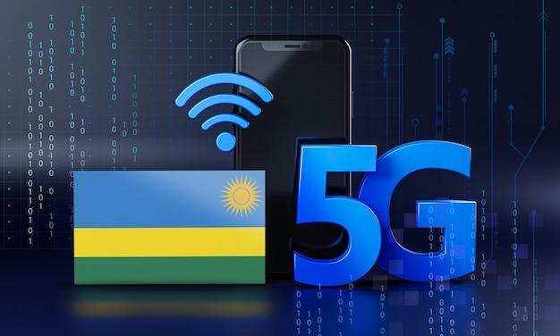 Ruanda pronto per il concetto di connessione 5g. sfondo di tecnologia smartphone rendering 3d