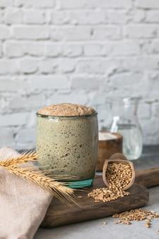 Il lievito di segale per il pane è attivo pasta madre fermentata miscela di acqua e farina da utilizzare come lievito per la panificazione il concetto di trafila sana
