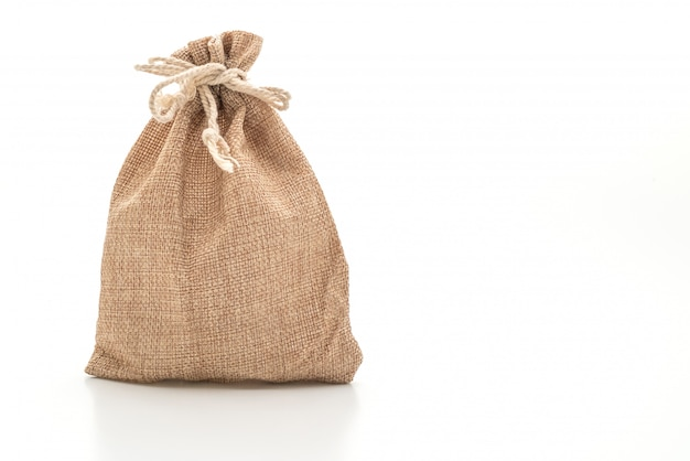 Borsa in tessuto a sacco isolata