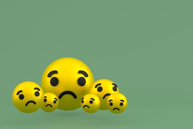 Icona triste reazioni di facebook emoji 3d rendering, simbolo del palloncino dei social media su sfondo verde