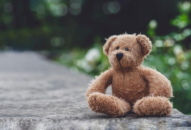 Orsacchiotto triste che si siede sul sentiero per pedoni con la natura sfocata, bambola dell'orso di solitudine che si siede da solo