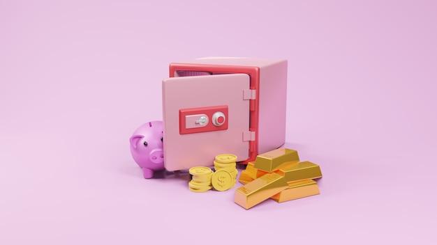 Vista del carattere della cassetta di sicurezza con rendering 3d di moneta e salvadanaio rosa.