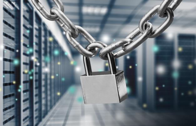 Concetto di sicurezza: lucchetto su sfondo digitale