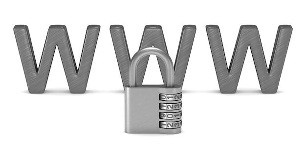 Internet di sicurezza. rendering 3d isolato Foto Premium