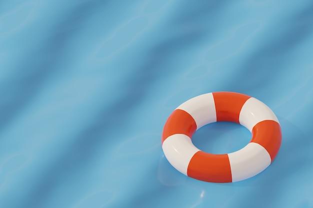 Anello di sicurezza galleggiante sul mare, stagione estiva e concetto di assistenza sanitaria