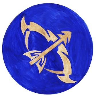 Illustrazione dell'acquerello del simbolo dello zodiaco del sagittario l'icona dello zodiaco astrologia