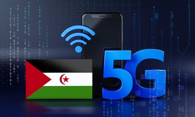 Sahraw ready per il concetto di connessione 5g. sfondo di tecnologia smartphone rendering 3d