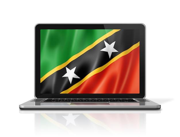 Bandiera di saint kitts e nevis sullo schermo del computer portatile isolato su bianco. rendering di illustrazione 3d.